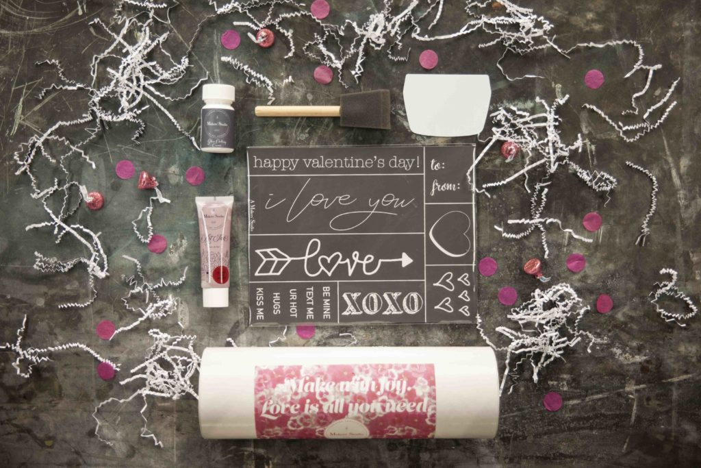 The January/February Make With Joy box has been carefully curated to help you celebrate love and creativity. It includes a brand new themed stencil, Glass Etching Cream, Bless His Heart Gel Art Ink, spreader, and a foam brush.