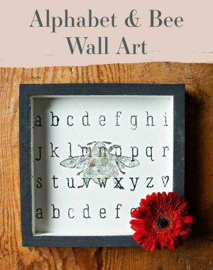 Learn how to quickly DIY this cute alphabet stencil and bee stamp wall art craft with A Makers' Studio.