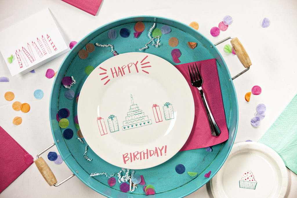 A Happy Birthday DIY plate is the perfect way to decorate for your next birthday bash. Make your own Happy Birthday plate with an A Makers' Studio stencil, Gelt Art Inks, and a simple white plate. Find the steps to make your Happy Birthday plate here!